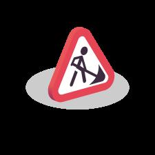 Icoon Veilig werken langs de weg